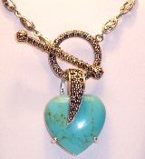 Heart Necklace Antique Marcasite Sterling Silver