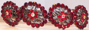 Crystal Ruby 4 Ovals Barrette