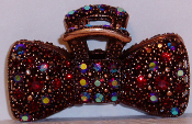 Crystal Bow Hair Claw Clip Bronze Metal in Ruby Crystals