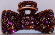 Crystal Bow Hair Claw Clip Bronze Metal in Amethyst Crystals