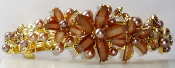 Pearl with Flowers Barrette Large Gold Topaz