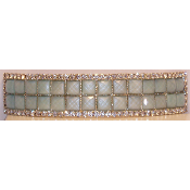 Crystal Mosaic 2 line Barrette Available in Black, Green, Ivory, and Pink.