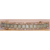 Crystal Mosaic Barrette Silver Metal Available in Black, Green (pale green), and Ivory
