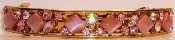 Gold Barrette Mosaic Crystal Pink