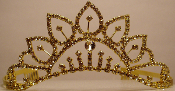 Crystal Tiara-Gold Metal