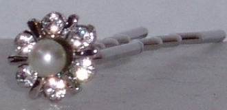 Pearl and Crystal Hair Pin Pair Silver Metal