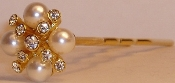 Pearl and Crystal Hair Pin Pair gold metal, only one pair remains