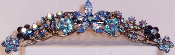 Hair Comb Crystal Star Center Available in Blue, Crystal, Marcasite, Peridot, Pink, Ruby, Topaz, Turquoise.