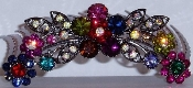 Crystal Hair Comb Flowers Multi