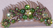 Crystal Hair Comb Flowers Peridot