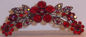 Crystal Hair Comb Flowers Ruby
