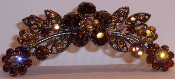 Crystal Hair Comb Flowers Topaz