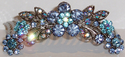 Crystal Hair Comb Flowers Blue