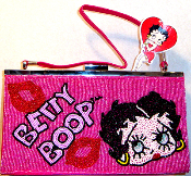 Beaded Lips Betty Boop Purse Baguette -1
