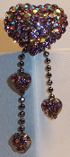 Crystal Hair Pin - Heart Dangle in amethyst and iridescent amethyst crystal
