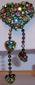 Crystal Hair Pin - Heart Dangle in peridot and iridescent white crystal