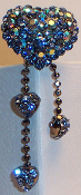 Crystal Hair Pin - Heart Dangle in blue and iridescent blue crystal