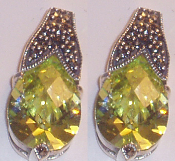 Marcasite Earrings with Peridot CZ