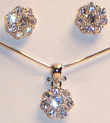 Cubic Zirconia Sterling Silver Flower Necklace and Earring Set