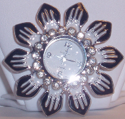 Crystal Flower Watch Pin