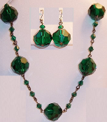 Emerald Crystal Necklace & Earrings
