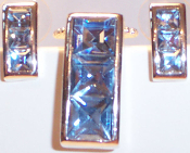 Rectangular Necklace & Earrings in Silver Metal with Blue Crystals