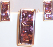 Rectangular Necklace & Earrings in Silver Metal with Amethyst Crystals