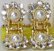 Mini Hair Clips Pair with Pearl and Swarovski Crystals. Available in Gold Metal.