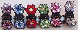 Flower Mini Claw Clips with Crystals - Available in Blue, Marcasite, Multi, Pink, Peridot, Ruby, Topaz.