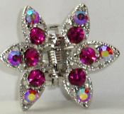 Crystal Claw Pair 6 Point - Fuschia Bright