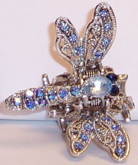 Dragonfly Hair Jewelry Claw Clip with Swarovski Crystals. Available in Crystal, Blue Peridot, Ruby, Topaz