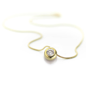 Cubic Zirconia Necklace-Gold Magnetic