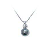 Faux Tahitian Pearl and Crystal Magnetic Pendant