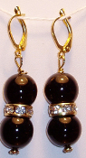 Black Glass Beads and Swarovski Crystal Rondelle Earrings