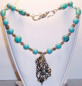 Chinese Turquoise & Sterling Silver Flower Pendant Necklace