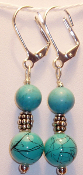 Chinese Turquoise & Sterling Silver Vintage Bead Earrings