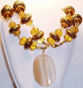 Citrine Beads & Gold Carved Beads Quartz Pendant Necklace