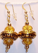 Citrine Gemstone Beads & Vintage Gold Carved Beads Earrings