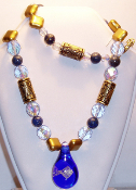 Lapis & Blue & Gold Beaded Glass Pendant Necklace