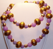 Purple Jade & Vintage Gold Beaded Necklace