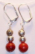 Sterling Silver Carved Rose Beads & Carnelian Beads Earrings