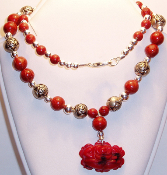 Sterling Silver Carved Rose Beads & Carnelian Beads Necklace