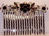 Crystal Comb Pair-Flowers Silver Metal Black Crystals. Other colors available are Amethyst, Aqua, Crystal, Fuchsia Pink, Peridot, Ruby, Sapphire, and Topaz (See JCCO001).