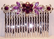 Crystal Comb Pair-Flowers Silver Metal Amethyst Crystal. Other colors available are Aqua. Black, Clear Crystal, Fuchsia Pink, Peridot, Ruby, Sapphire, and Topaz (See JCCO001).