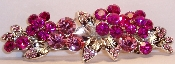 Crystal Flowers Barrette Fuchsia Pink, also available in Amethyst, Aqua, Black, Crystal, Peridot, and Sapphire