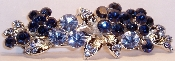 Crystal Flowers Barrette Sapphire, also available in Amethyst, Aqua, Black, Crystal, Fuchsia Pink, and Peridot