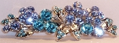 Crystal Flowers Barrette Aqua, also available in Amethyst, Black, Crystal, Fuchsia Pink, Peridot and Sapphire