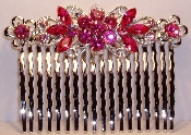 Crystal Comb Pair-Flowers Silver Metal Fuchsia Pink Crystals. Other colors available are Amethyst, Aqua, Black, Crystal, Peridot, Ruby, Sapphire, and Topaz (See JCCO001).