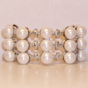 Pony Tail Holder Faux white Pearls and Crystals