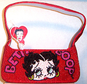 Beaded Lips Betty Boop Purse Baguette - 3 Red